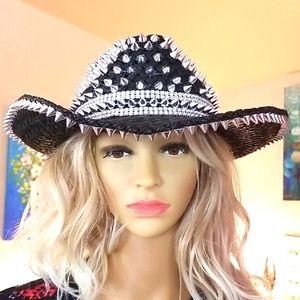 Vtg WHITTALL SHON Black Silver SPIKES Cowboy Hat